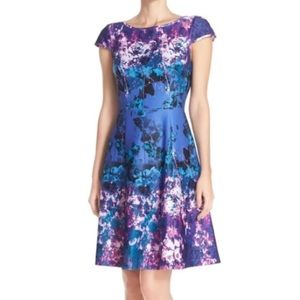 Adrianna Papell Scuba Fit and Flare Cut Away Dress